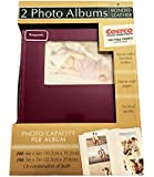 Old Town 2-Pack Handcrafted Bonded Leather Photo Album With Large Window Holds 300 Photos Each, Burgundy