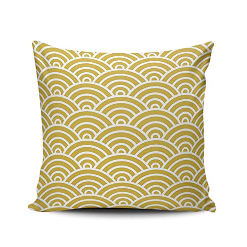 Fanaing Classic Art Deco Scales in Mustard and White Pillowcase Home Sofa Decorative 26X26 Inch European Throw Pillow Case Decor Cushion Covers Double Sided ()