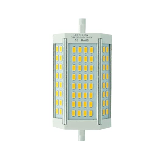 JQslight 30W regulable R7s 118mm lineal LED Tubo blanco fresco 6000K 200 Degrees super brillante J
