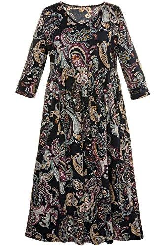 Dress Print Jersey Paisley (Ulla Popken Women's Plus Size Paisley Print Empire Line Dress Multi 16/18 711419 90)