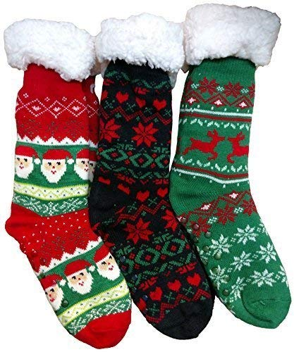 Christmas Printed Socks, Fun Colorful Festive, Crew, Knee High, Fuzzy, Or Slipper Sock by WSD (3 Pairs Sherpa Lined Slipper Socks)