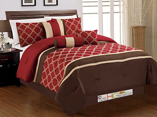 7-Pc Embroidered Casablanca Trellis Moroccan Striped Comforter Set Burgundy Red Brown Tan