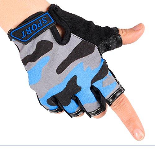 Cycling Gloves for Kids Girls Boys, Camouflage Non-slip Half Finger Riding Gloves Breathable Shockproof Fingerless Bike Gloves Roller Skating Hunting Climbing Bicycle Sports Gloves for Children/Women