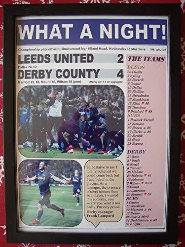 - Sports Prints UK Leeds United 2 Derby County 4-2019 Play-Off semi-Final - Framed Print