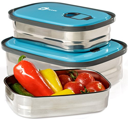 Bento Lunch Box Food Container Storage Set 3 In 1. Leak Proof Stainless Steel Can with Lids. Healthy Takeaway -...