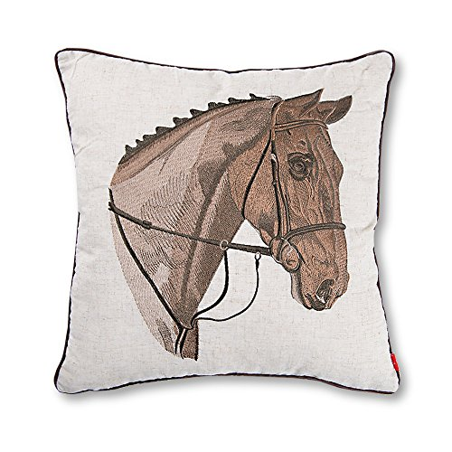 Baibu Exquisite Embroidered Cushion Cover Beige Pattern Pillow Cover with Piped Edge, Horse (Horse Throw Pillow)