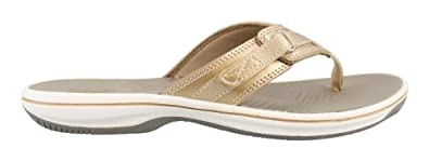 CLARKS Women's Breeze Sea Platform, Gold Synthetic, 5 Medium US