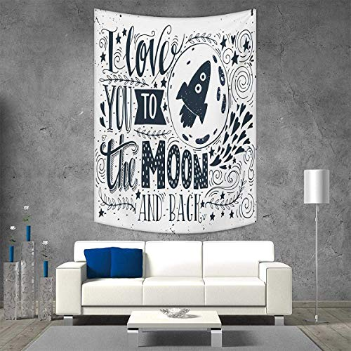 smallbeefly Love You Tapestry Table Cover Bedspread Beach Towel Celestial Love My Other Half Floating Never Let Go Valentines Concept Dorm Decor Beach Blanket 40W x 60L INCH Blue Grey White -