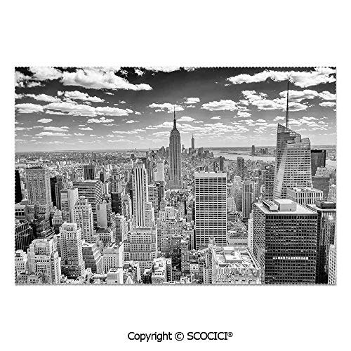 SCOCICI Set of 6 Printed Dinner Placemats Washable Fabric Placemats NYC Over Manhattan from Top of Skyscrapers Urban Culture Artful City Panorama for Dining Room Kitchen Table Decoration -