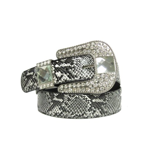 "1 1/2"" Women's Rhinestone Embellished Horse Shoe Buckle on Quality Snake Skin... from WonderMolly"