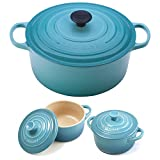 Le Creuset Signature Caribbean Enameled Cast Iron 7.25 Quart Round French Oven with 2 Free Stoneware Cocottes