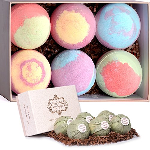 Citrus&Wheat 6X4.2 Oz Bath Bombs Gift Set | All Natural & Organic Spa Fizzies With Shea Butter | Promote Relaxation, Moisturize, Revitalize & Cleanse Your Skin