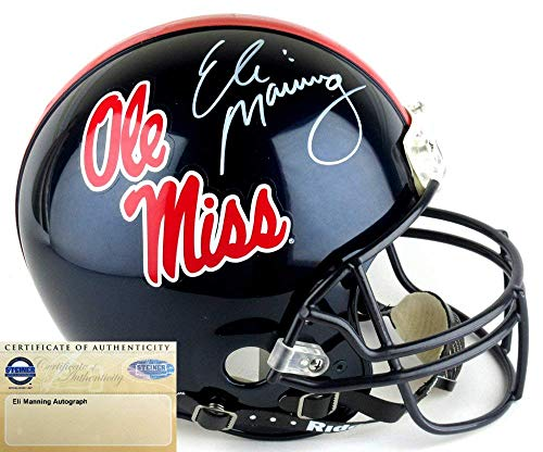 Eli Manning Autographed/Signed Ole Miss Rebels Riddell Authentic Proline NCAA Helmet - Steiner