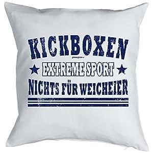Cojín con diseño deportivo–Kickboxing Extreme Sport–Nada para blandos.–Cojín–Sofá–Blanco