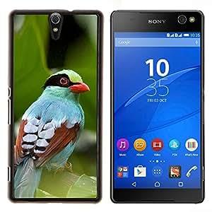 KLONGSHOP // Cubierta de piel con cierre a presión Shell trasero duro de goma Protección Caso - deja la naturaleza de verano de aves tropicales - Sony Xperia C5 Ultra //