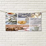 Winter,Hand Towel,Snowy Morning with Sleeping Cat Coffee Donuts ICY Tree Branch Comfort Collage Art,Quick-Dry Towels,Multicolor Size: W 20'' x L 20''