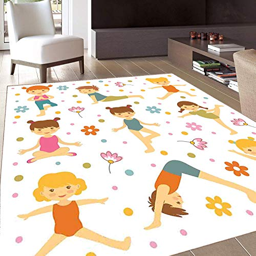 Rug,Floor Mat Rug,Yoga,Area Rug,Cartoon Style Exercising Kids with Colorful Daisies Healthy Active Children Stretching,Home mat,5'x7'Multicolor,Rubber Non Slip,Indoor/Front Door/Kitchen and Living Roo