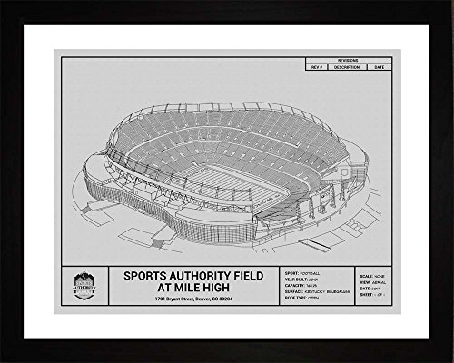 Denver Broncos Sports Authority Field at Mile High Framed Blueprint Wall - Broncos Wall Framed Denver