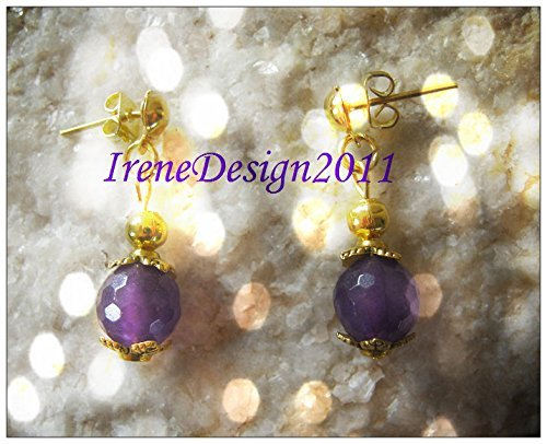 Gold Stud Earrings with Facetted Amethyst