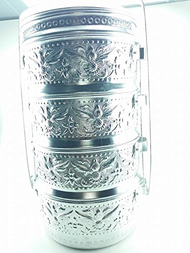 THAI ALUMINIUM 16 CM pineapple CONTAINER SILVER PINTO 4 STACK LUNCH BOX TIFFIN COLLECTIBLE by Amazingonline