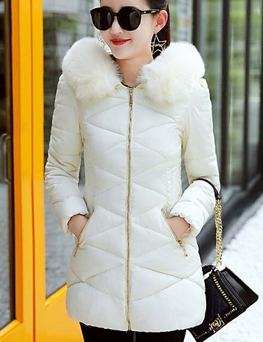 Polypropylene Regular Cotton Daily Chic Padded Sleeves ZHUDJ White Solid Women'S Long Going Street Coat Casual Out L H5wU7zqP