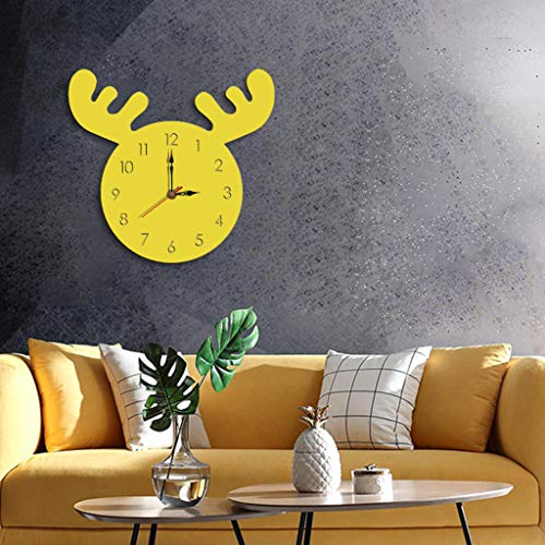 OrchidAmor Nordic Style Elk Wall Clock Silent Wooden Clock for Home Living Room 2019