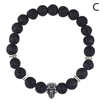 SPORTTIN Lava Rock Black 8mm Beads Bracelet for Men Skull Stainless Steel Stretch Charm Bracelets(C): Jewelry