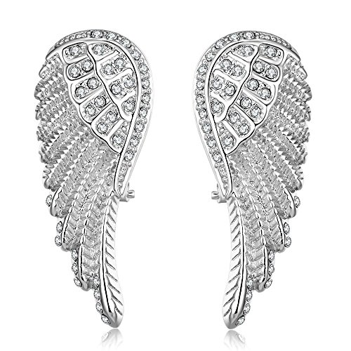 Angel Wings Stud Earring, CZ Cubic Zirconia Ear Studs Earrings with Premium Gift Box for Women Girls -
