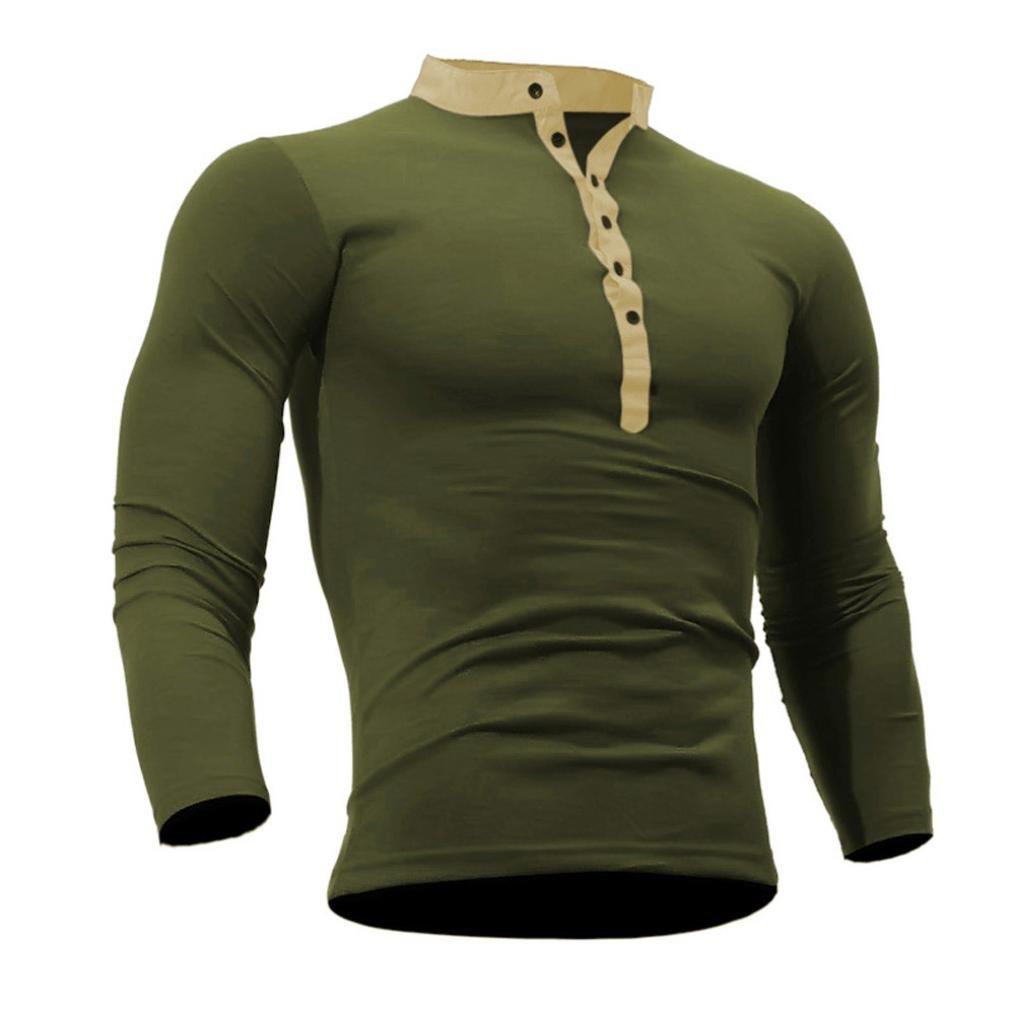 kaifongfu Men Long Sleeve Top Spring Autumn Cotton T Shirt Men Solid Color Tshirt (XXXL, Army Green) by kaifongfu