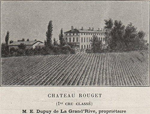 Saint-ÉMILIONNAIS. POMEROL. Chateau Rouget (1er Cru Classé). Small - 1908 - Old Print - Antique Print - Vintage Print - Printed Prints of Gironde