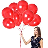 Bright Red Ruby Pearl Balloons Latex Helium Quality Birthday Party Supplies Pack of 100 with Ribbons Cherry Love Balloon Carnival Arch Festival Valentines Day