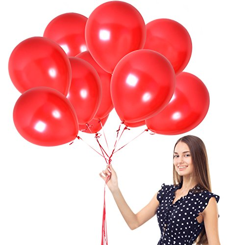 Bright Red Ruby Pearl Balloons Latex Helium Quality Birthday Party Supplies Pack of 100 with Ribbons Cherry Love Balloon Carnival Arch Festival Valentines Day by Treasures Gifted