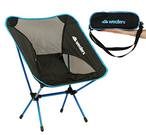 Compact Foldable Beach backpacking Camping Chair Potable Stool Ultra Lightweight Aluminium Alloy Super Comfort Perfect for Sport Outdoor Events, Camping, Fishing, Picnic By Wealers (Blue)