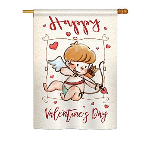 Happy Valentines Day Applique Flags (Happy Valentine's Day Cupid Vertical House Large Outdoor Decoration Flag 28