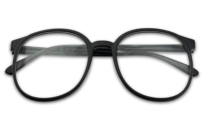 b9f54b0c7e Sunglass Stop - Extra Large Oversize Round Vintage Clear Lens Retro Black  Glasses (Black