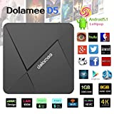 DOLAMEE D5 Android TV BOX , Fully Loaded Android 5.1 Lollipop OS Streaming Media Players XBMC / Kodi 16.1 Support 4K UltraHD TV with Rockchip RK3229 Quad-core 2.4G Wifi 1G / 8G