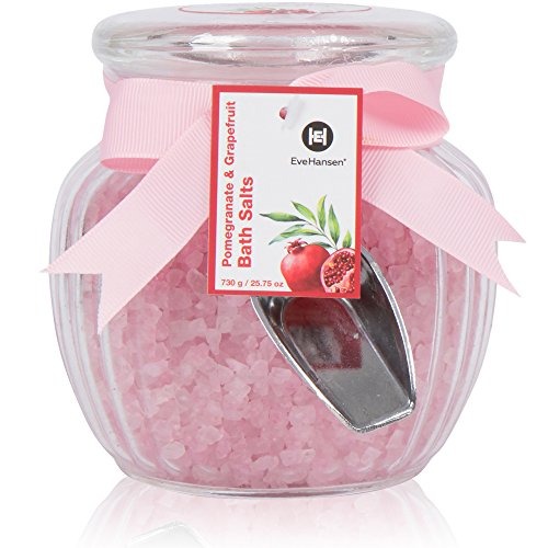 Organic Relaxation Bath Salts by Eve Hansen in Pomegranate and Grapefruit Scent. Pink Salts Make a Great Gift. Skin Detoxifying and Relaxing Sea Bath. Bath Salts Natural Aromatherapy Essential Oils. (Bath Set Therapy)