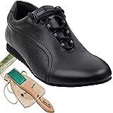 Men's Ballroom Dance Shoes Latin Salsa Sneaker Dance Shoes Black Leather SERO101BBXEB Comfortable - Very Fine 9 M US [Bundle of 5]