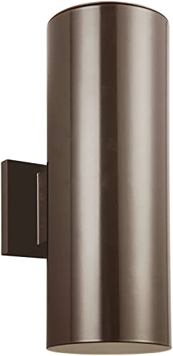 Seagull Sea Gull 8313802-10 Contemporary Modern Two Light Wall Lantern from Outdoor Cylinders Collection in Bronze Dark Finish, Small