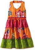 Blueberi Boulevard Girls 2-6X Ruffle and Bows Sundress, Orange, 6x image