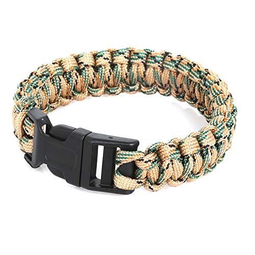 Tea language Hiking Paracord Bracelet Rope Whistle Buckle Kit Wristbands for Men & Women
