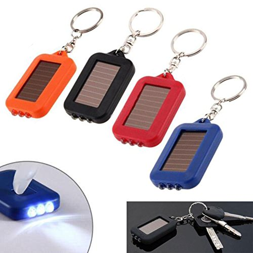Easyinsmile 4pcs Random Color Solar Power 3 LED Light Keychain Torch Flashlight for Outdoor Emergency - Power Solar Keychain