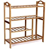 WoodLuv 4-Tier Natural Bamboo Wooden Shoe Rack Shelf Holder Storage Organizer