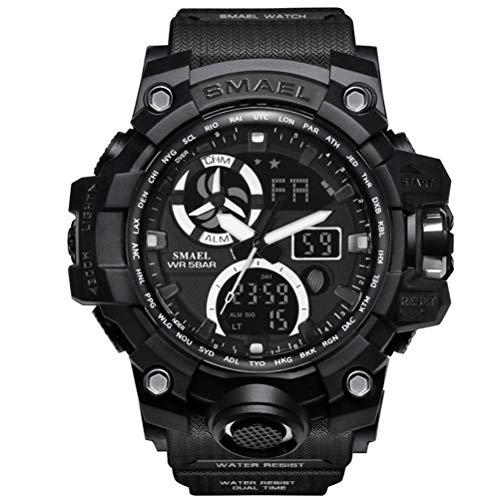 Richermall Mens Sports Analog Quartz Watch Dual Display Waterproof Digital Watches with LED Backlight relogio Masculino (Black)