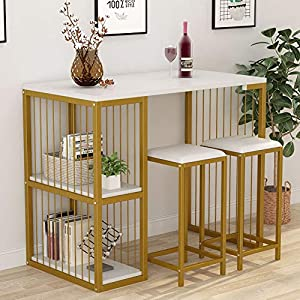 Tribesigns 3-Piece Pub Dining Set Bar Table Set with 2 Storage Shelves, 3 Pcs Kitchen Counter Height Dining Breakfast Table Set with 2 Upholstered Stools