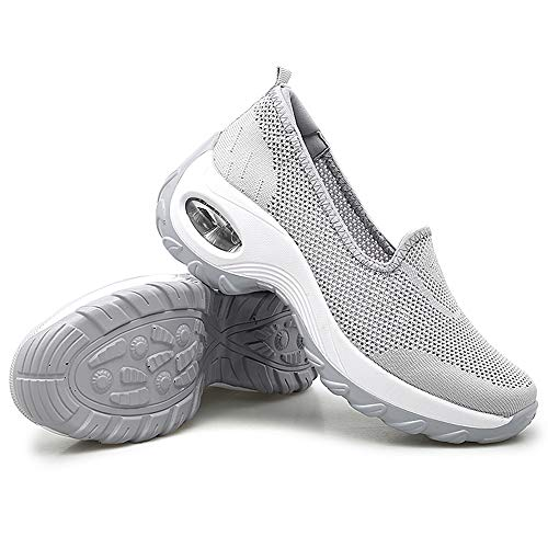Women's Platform Walking Shoes Slip-on Wedge Sneakers Mesh Breathable Casual Comfortable Working Shoes Grey-39
