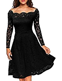 Women's Cocktail Dress Long Sleeve Lace Party Dresses Off-Shoulder Boat Neck Formal Swing Dress
