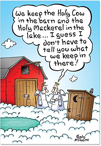 Season Holiday Cards - 12 'Holy Shit' Christmas Cards with Envelopes 4.63 x 6.75 inch, Outhouse in Heaven Merry Christmas Cards, A Hilarious Poopy Happy Holidays, Funny Crappy Season's Greetings Cards B1893