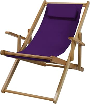 Ben And Jonah Wood Sling Chair (Purple Canvas)