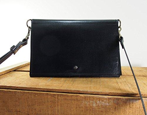 Black Leather Crossbody Purse by Julie Meyer Handbags